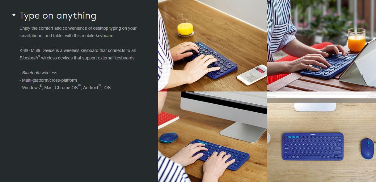 Logitech K380 Multi-Device Bluetooth Keyboard (Blue)