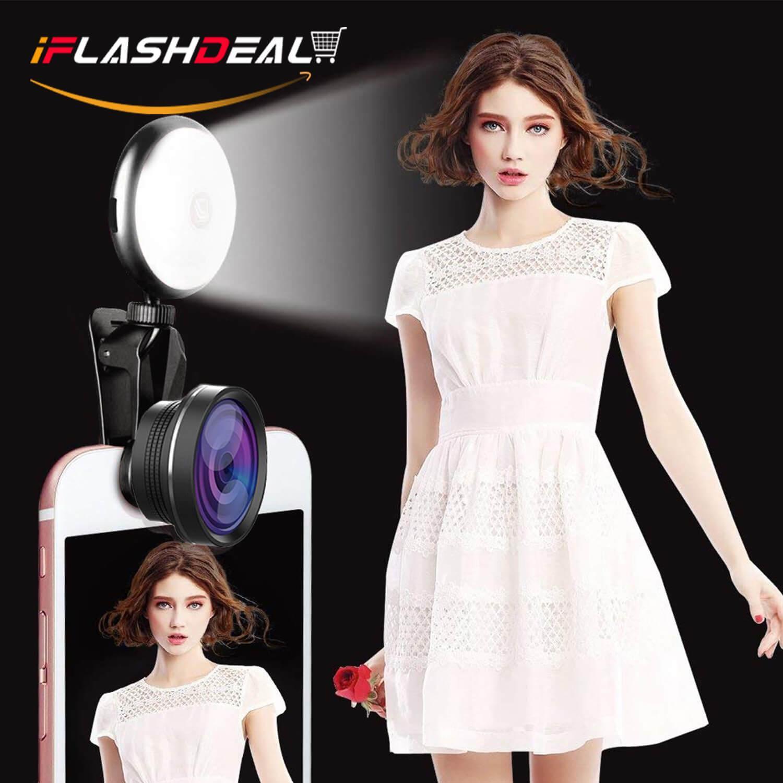 iFlashDeal Lampu Flash Handphone Lensa Smartphone Kamera Fisheye Wide Macro Portable Clip-on Mini LED Selfie Ring Lamp Fill-in Light Night Lampu Selfie Ring