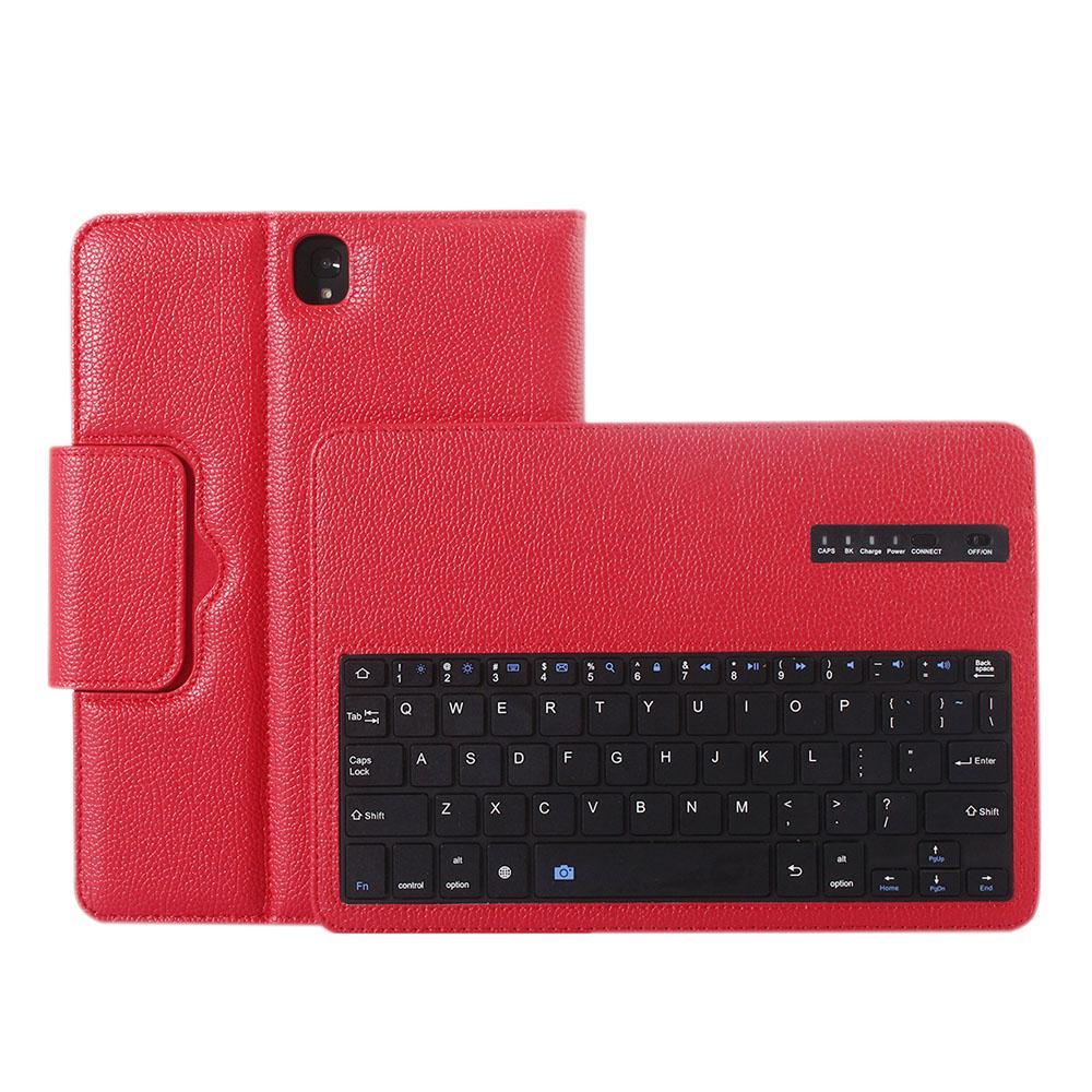 Nirkabel Bluetooth Keyboard Pelindung Case Magnetisme Penyerapan Fungsi Terlepas Cover Tablet Bracket untuk 9.7 Inci Samsung Galaxy Tab S3 SM-T820 SM-T825 Model Merah-Intl