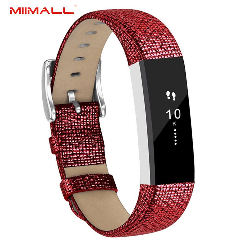 Miimall Fitbit Alta Strap, Genuine Leather Replacement Wrist Band Watch Strap With Stainless Steel Buckle