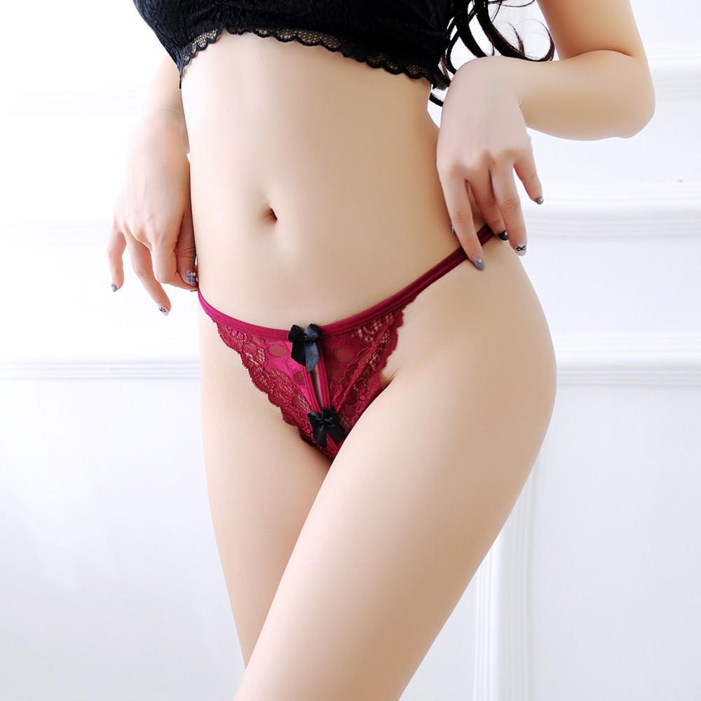 da26816b36b Wallerstore Women s Sexy Lace Pearl Low-Waist G-String Hollow Underwear  Thongs Panties