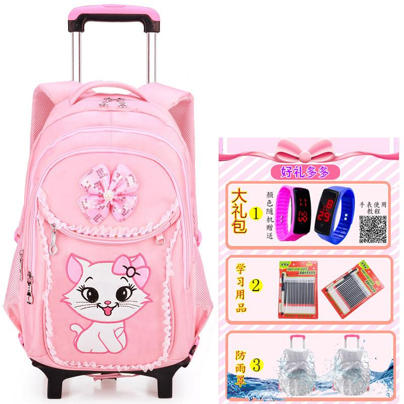 Girls Young Students Trolley Bag 1-3-6 Grade Cute Girls Pink Princess Three Rounds of Climbing Stairs 6-12-Year-Old