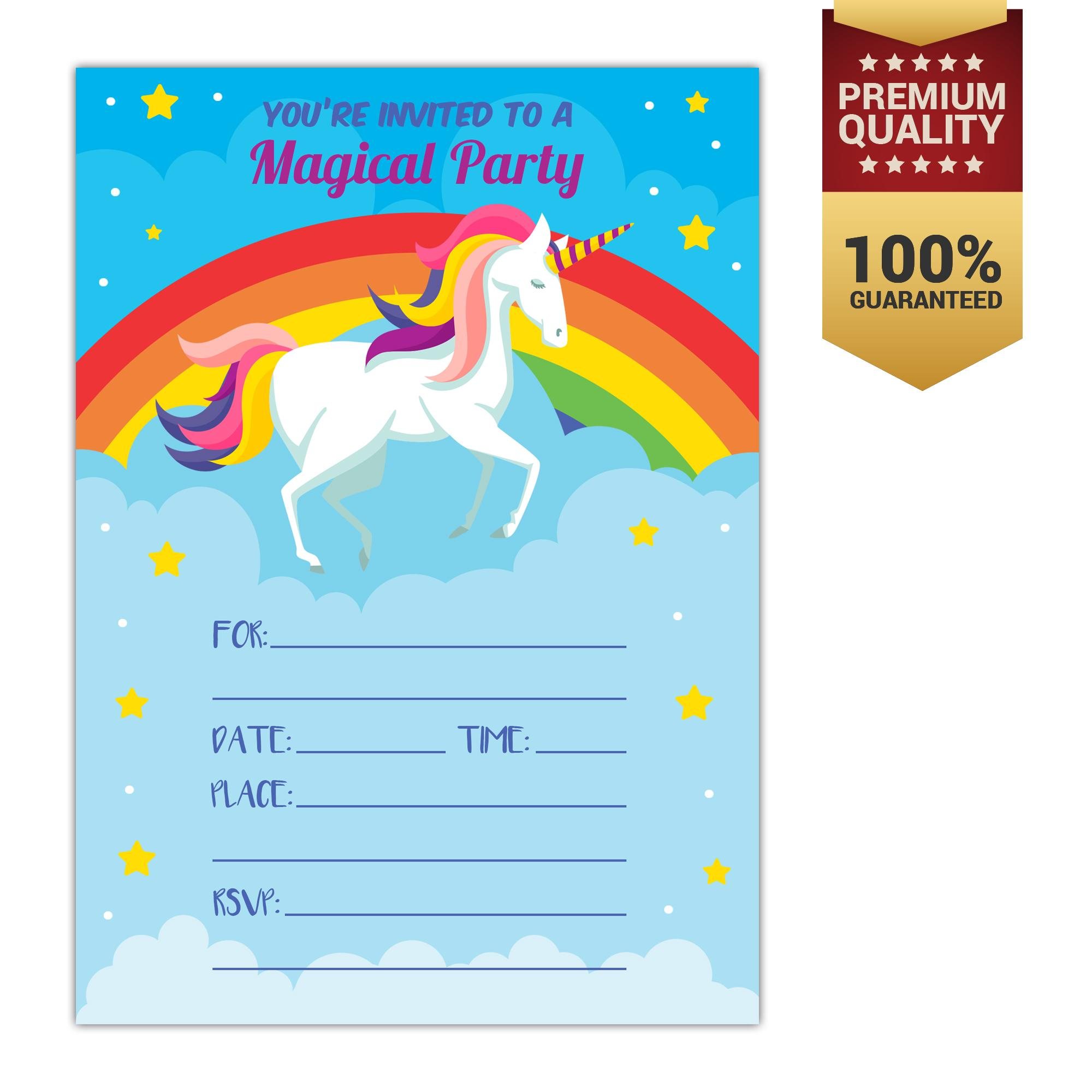 Invitation cards for sale party cards online brands prices unicorn birthday invitation unicorn party invite 10 fill in style with envelopes stopboris Gallery