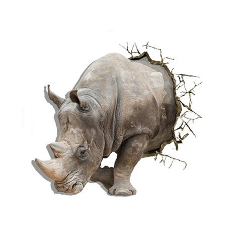 3D ( Rhino ) wall stickers bedroom living room TV sofa background wallpaper HD three-dimensional self-adhesive stickers Green pigment HD stickers