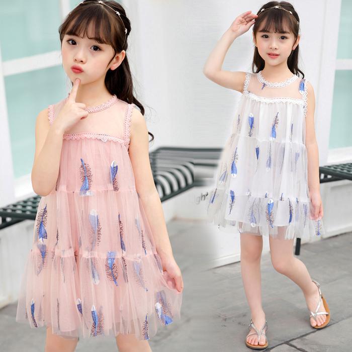 Hình ảnh Kiểu Hàn Quốc Mẫu Mới Cho Trẻ Em Nữ Mùa Hè Váy Cộc Tay Váy