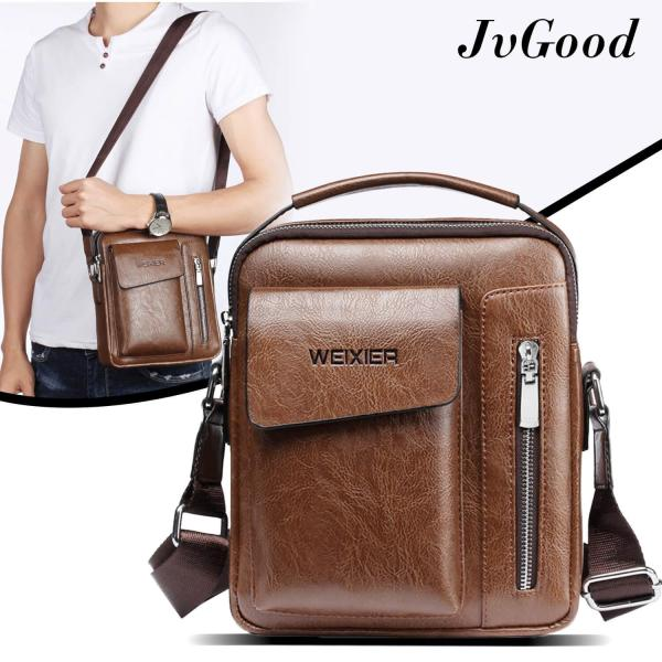 JvGood  Messenger Bag PU Leather Sling Shoulder Bag Male Travel Casual Crossbody Bags Small Flap Handbags