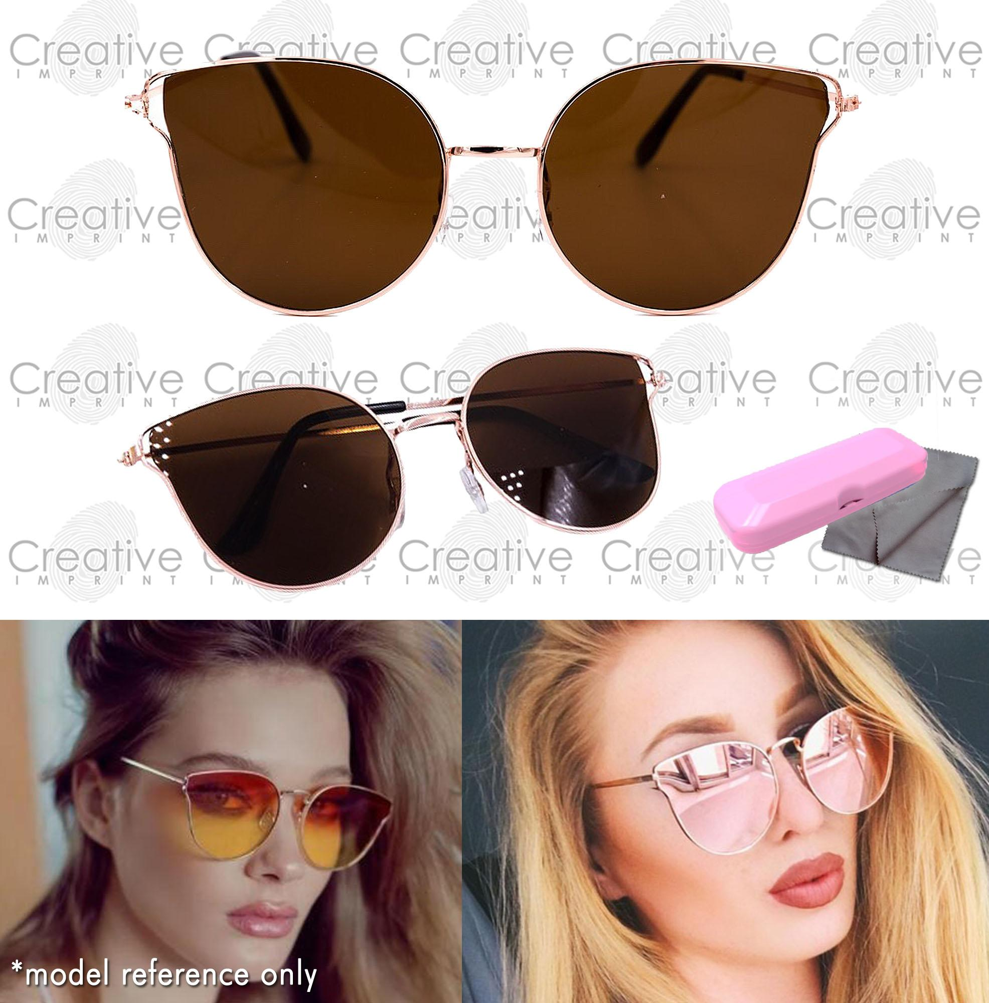 9ff3f458bd Creative Imprint Cat Eye Mirror Lens Coated Light Metal Frame High Fashion  Trendy Korean Sunglasses Shades