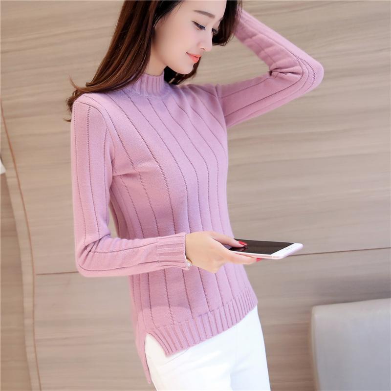 Musim gugur musim dingin model baru pakaian wanita Gaya Korea Depan Pendek Belakang Panjang belahan Kemeja rajut Lebih tebal Baju Dalaman kerah setengah tinggi sweaster pulover pasang - 2