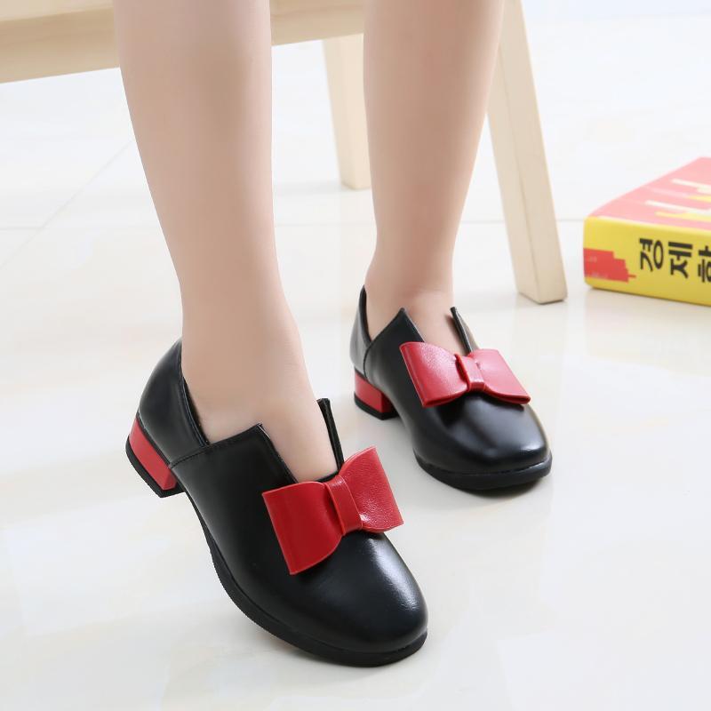 Anak prempuan Sepatu Kulit anak perempuan sepatu putri 2018 model baru Gaya  Korea Dasi kupu- 8da1f2e48f