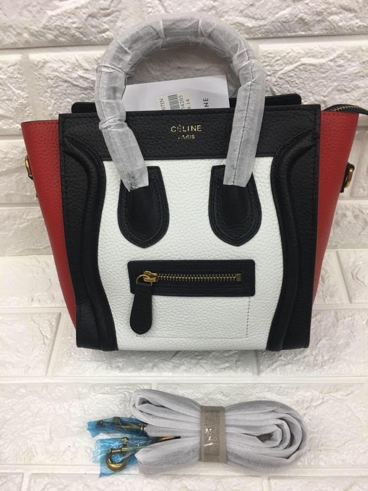 Celine Paris Authentic Nano Size Luggage Tote Bag (White 89202ef058ee1