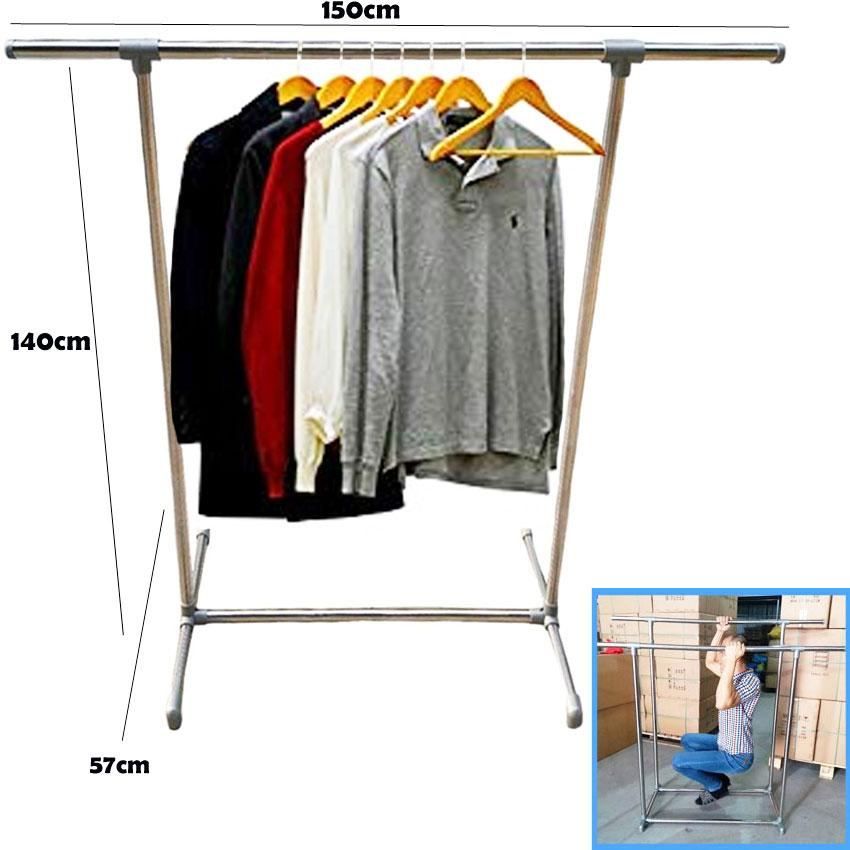 Pure Stainless Steel Durable Single Pole Guarantee A Good Product Telescopic Heavy Duty Cloth Rack