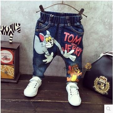Anak-anak Baru Kartun Koboi Celana Panjang Model Musim Gugur Koboi Celana (Biru Tua