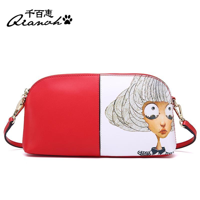 QIANBH Tas Kecil Korea Fashion Style Perempuan Tas Model Kerang Bahu (Big Head Gadis merah