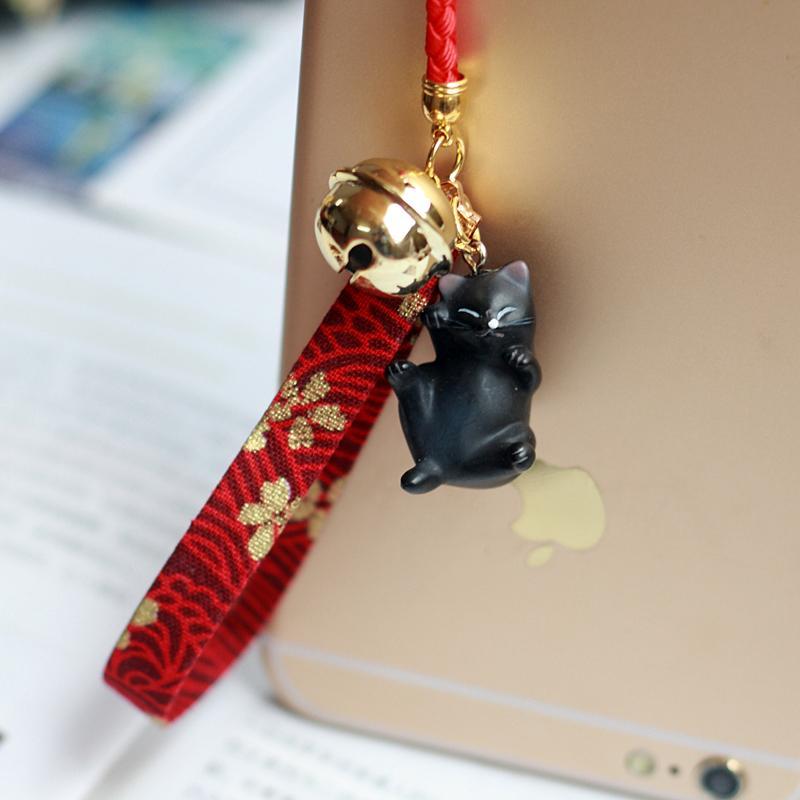 Model Jepang Corak Angin Imut Kucing Lonceng Rantai Ponsel Liontin Tas Ornamen Pendek Tali Gantungan Kepribadian
