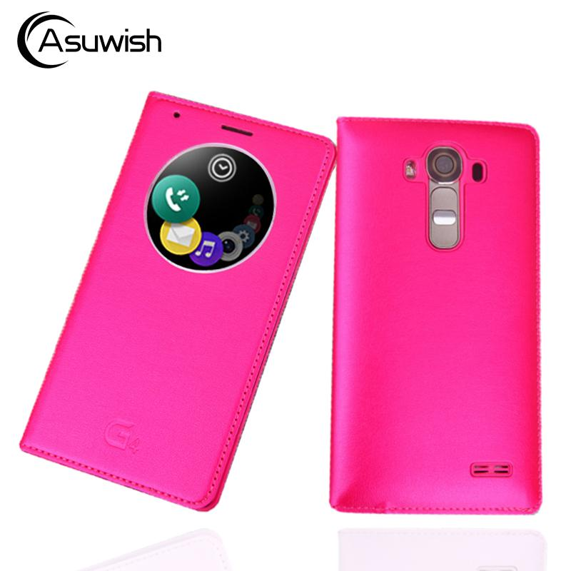 Asuwish Quick Shell Bag Smart Circle View Auto Sleep Function Sleeve Flip Cover Leather Case Holster