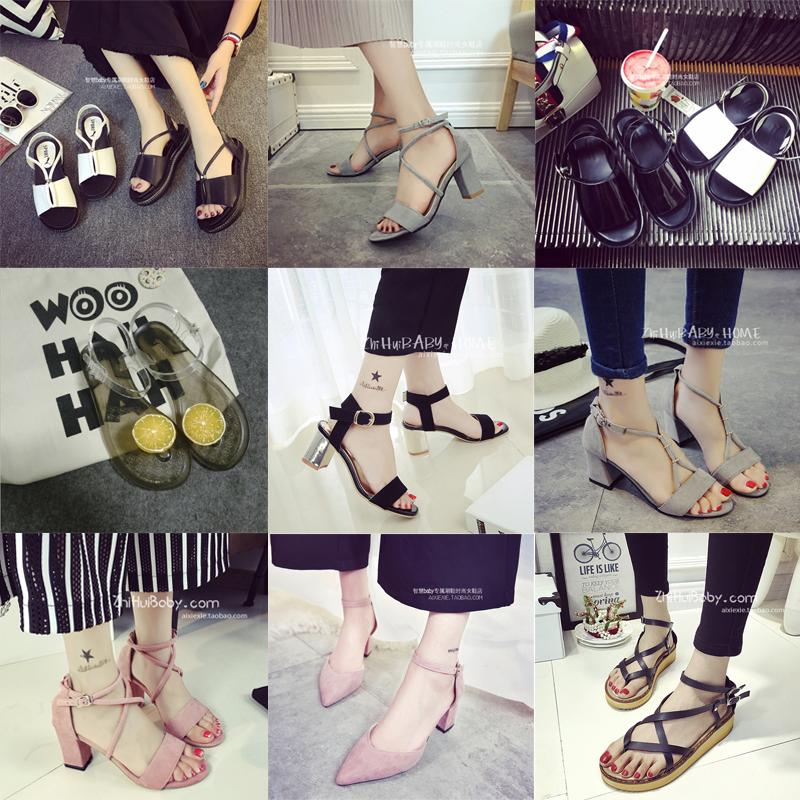 40408160e10f A word buttons up thick heel summer of female of sandals 2017 new Ms. Kuan