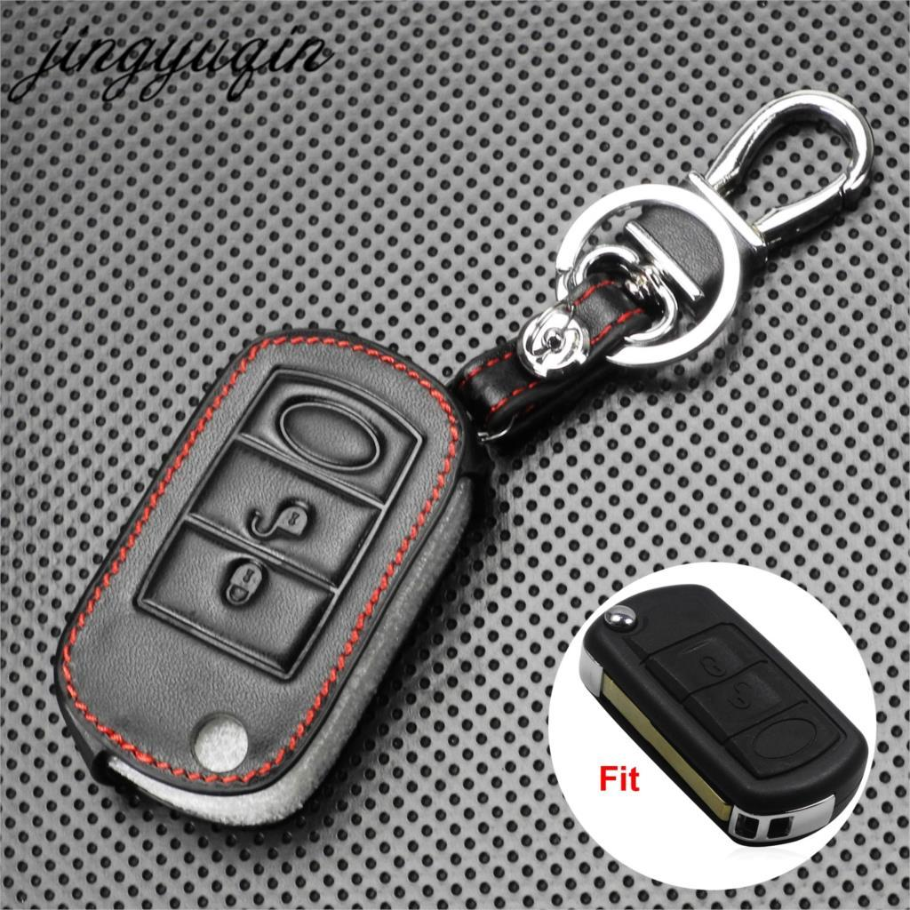 Jingyuqin Leather Car Key Cover For Range Rover Sport Lr3 Discovery Folding Flip Remote Key Case Fob 3 Button Protect By Resiren Store.