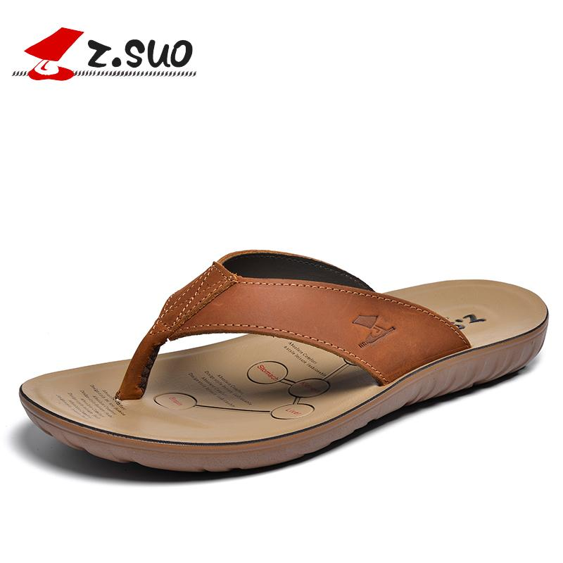 ZSuo Leather Slippers Male Summer Fashion Outer Wear Sandals Cowhide Flip-flops Men Outdoor Sandals Fashion Man Drag