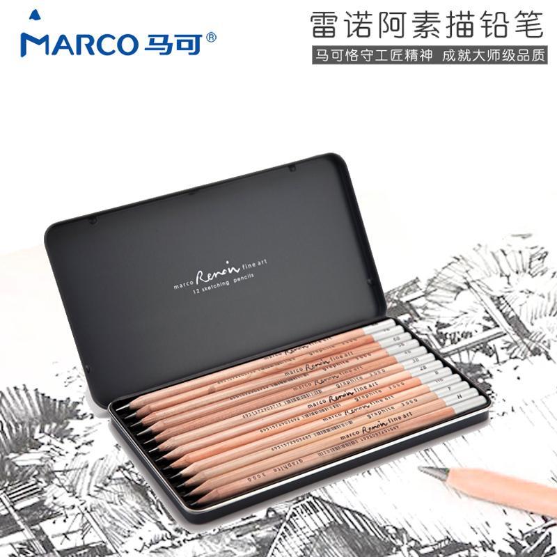 Marco Marco Profesional seni Renoir lebih gradasi menggambar sketsa pensil 3001/3000 seri Kotak Besi