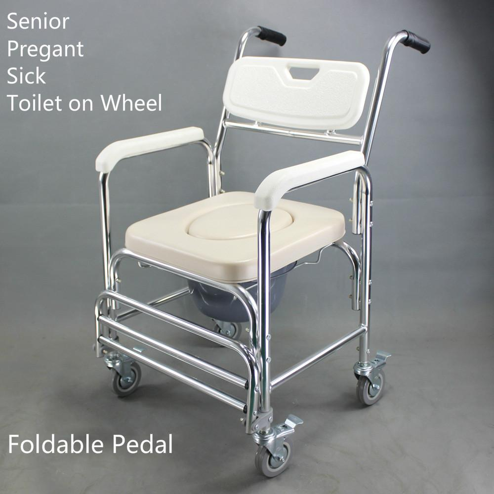Aluminum Alloy Commode Chair the Aged Old Senior People Pregnant Woman Sick Patient Toilet with Wheel and O Shape Sofa Sitting Pad