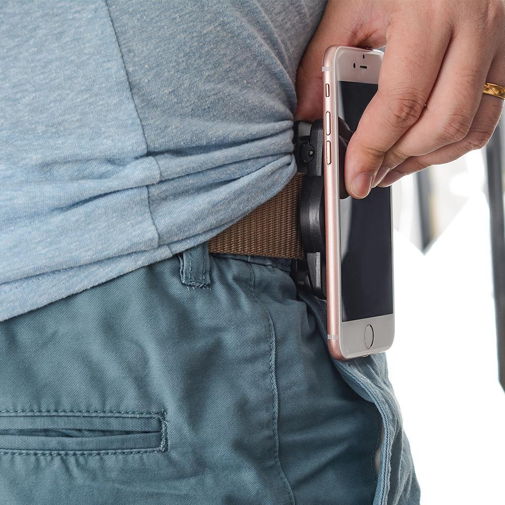 Universal Magnet and Buckle Lock Outdoor Sports Cellphone Waist Belt Clip Holder Black