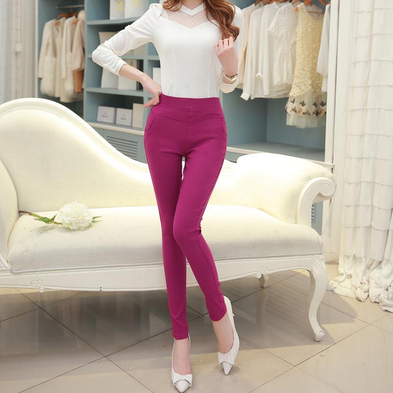 Tinggi Berpinggang Legging Wanita Memakai Besar Elastis Celana Korea Celana Ramping Elastis Berwarna Celana Pensil