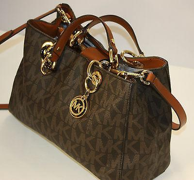 Authentic Michael Kors Cynthia Medium Saffiano Leather Satchel Brown Monogram
