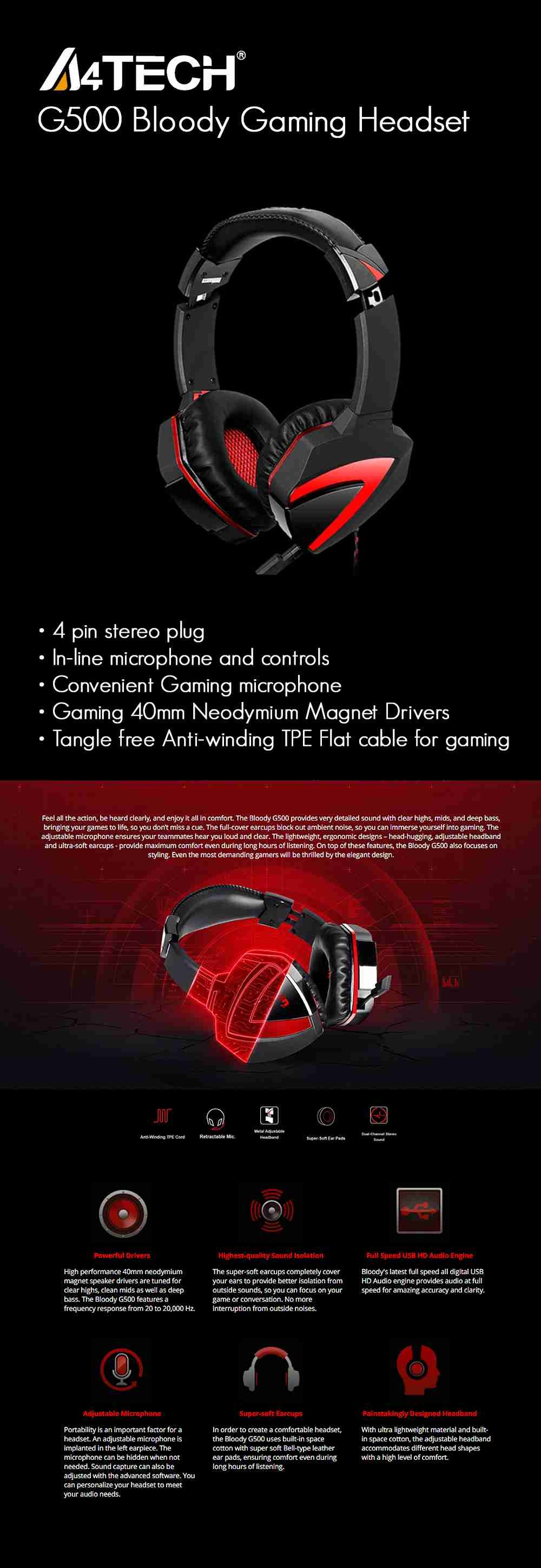 Specifications A4tech G500 Bloody Gaming Headset