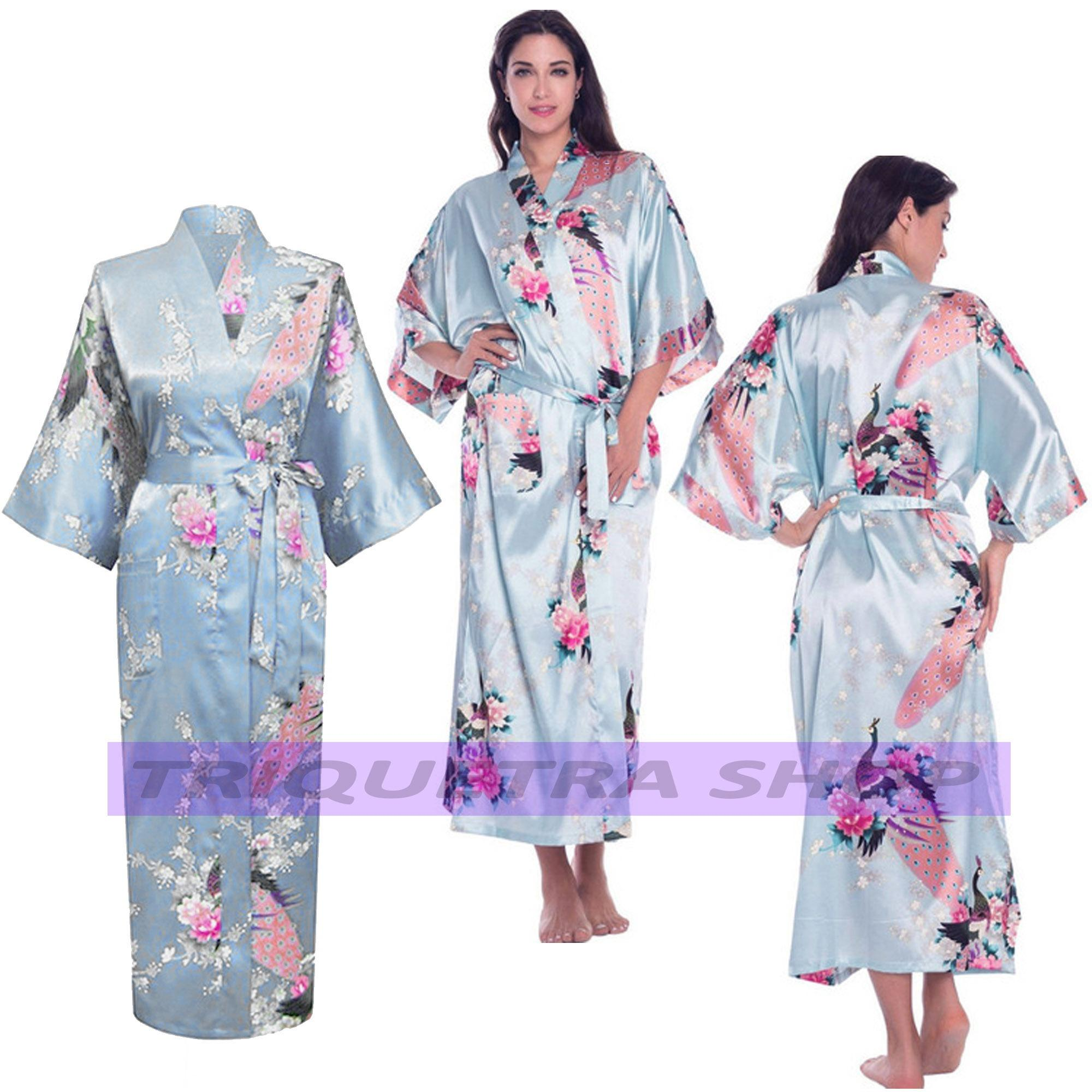 7af4007b0026 Thai Silk Robe Long Nightgown Bride Bridesmaid Dress Sleepwear (Light Blue)