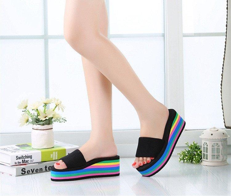 New Women s Casual Flip Flops Beach Sandals Rainbow High Platform ...