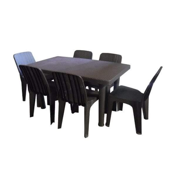 Jolly Plastic Rattan Dining Set