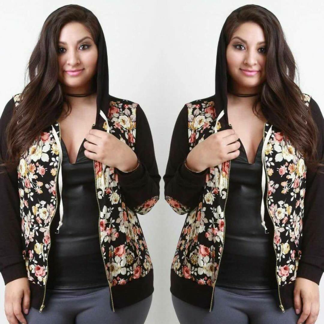 Plus Size Floral Printed Jacket