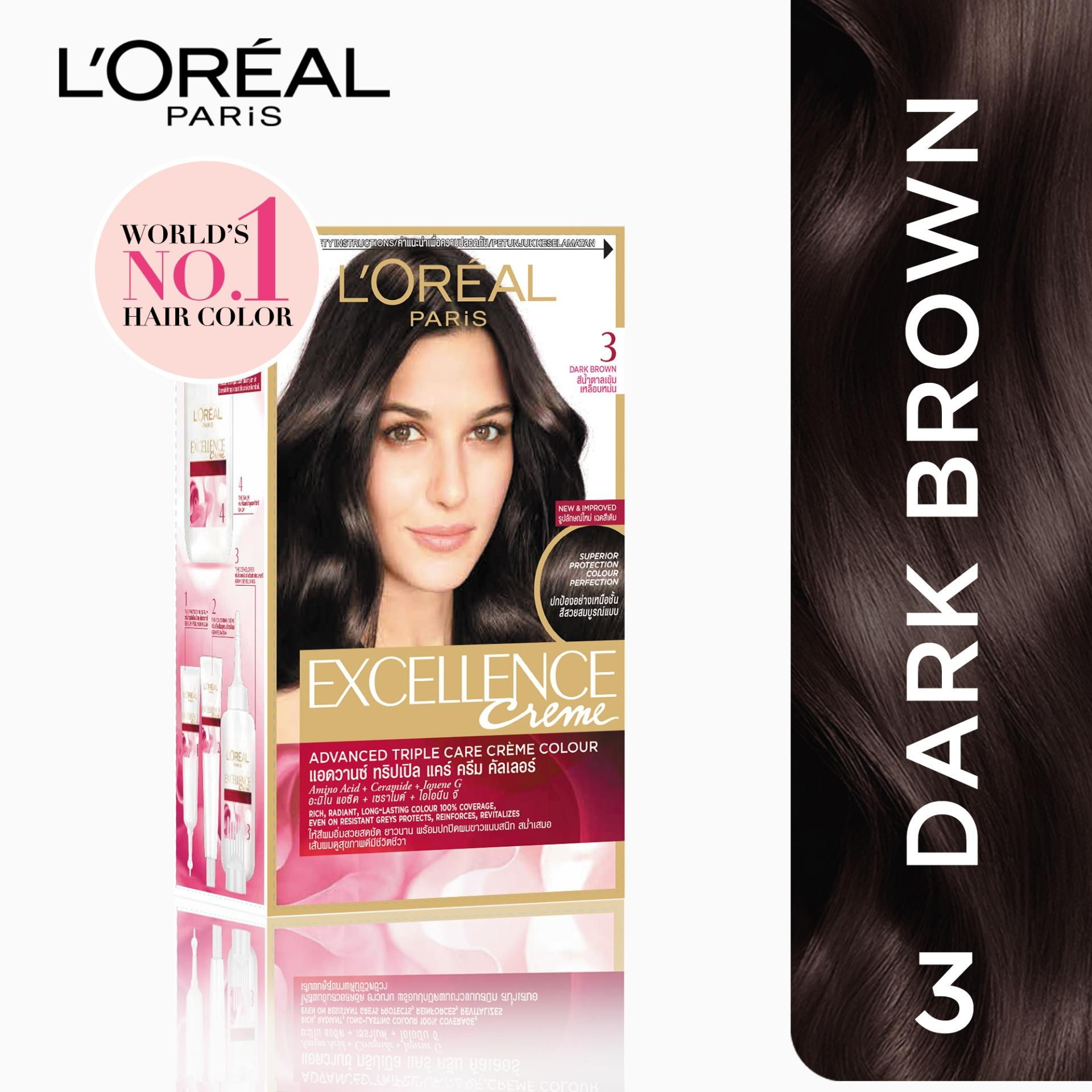 Hair color brands hair dye on sale prices set reviews in excellence crme 3 dark brown worlds no1 by loral geenschuldenfo Image collections