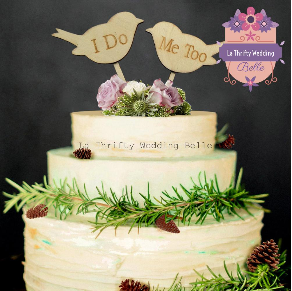 Love Birds Rustic Wooden Wedding Cake Cupcake Topper