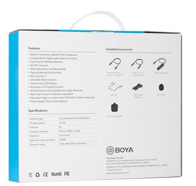 Boya By Wm8 Pro K2 Uhf Dual Channel Wireless Lapel Receiver With