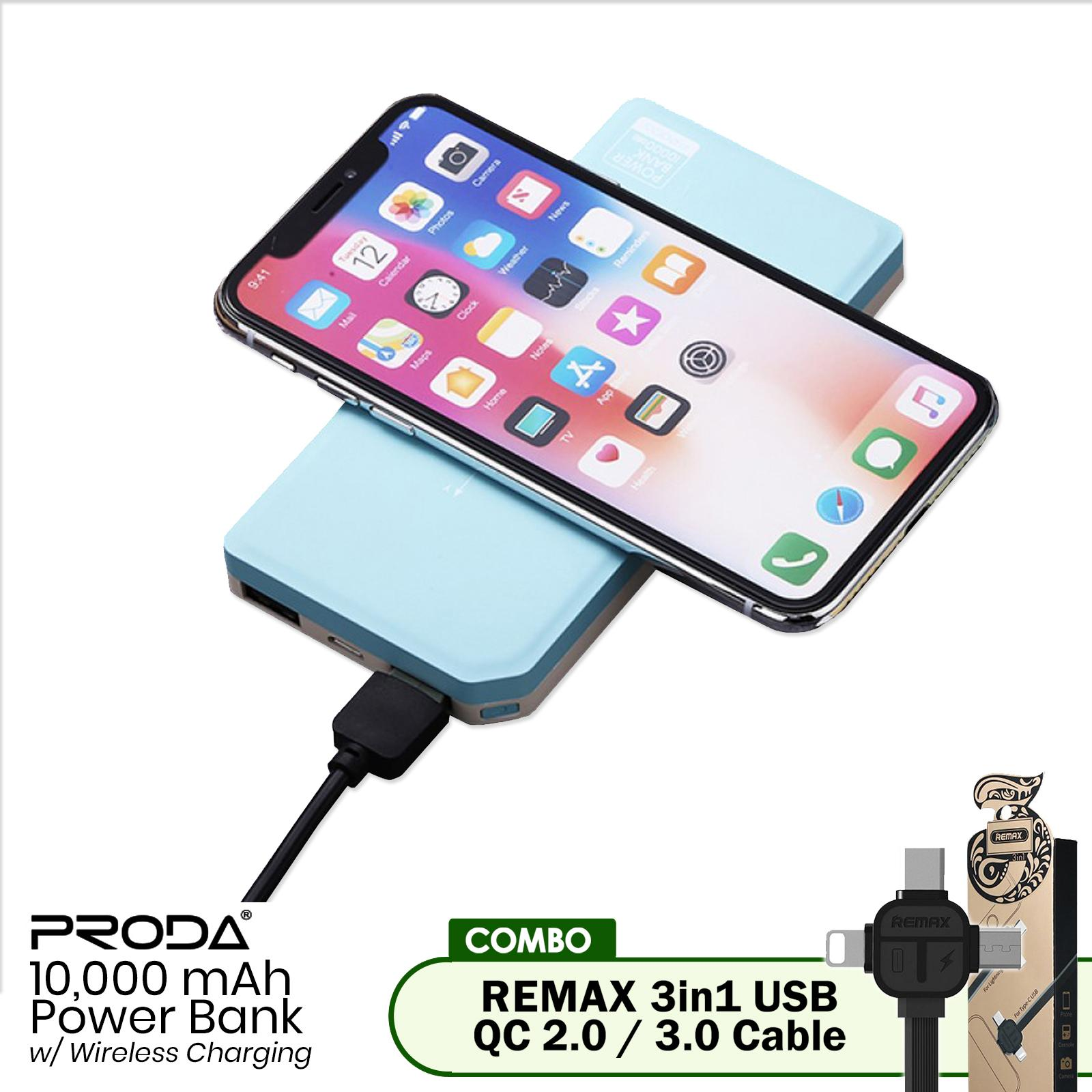 Remax Proda Rp L1 Tiger Charger With Lightning Cable White Usb 10000mah Wireless Charging Powerbank W 3in1