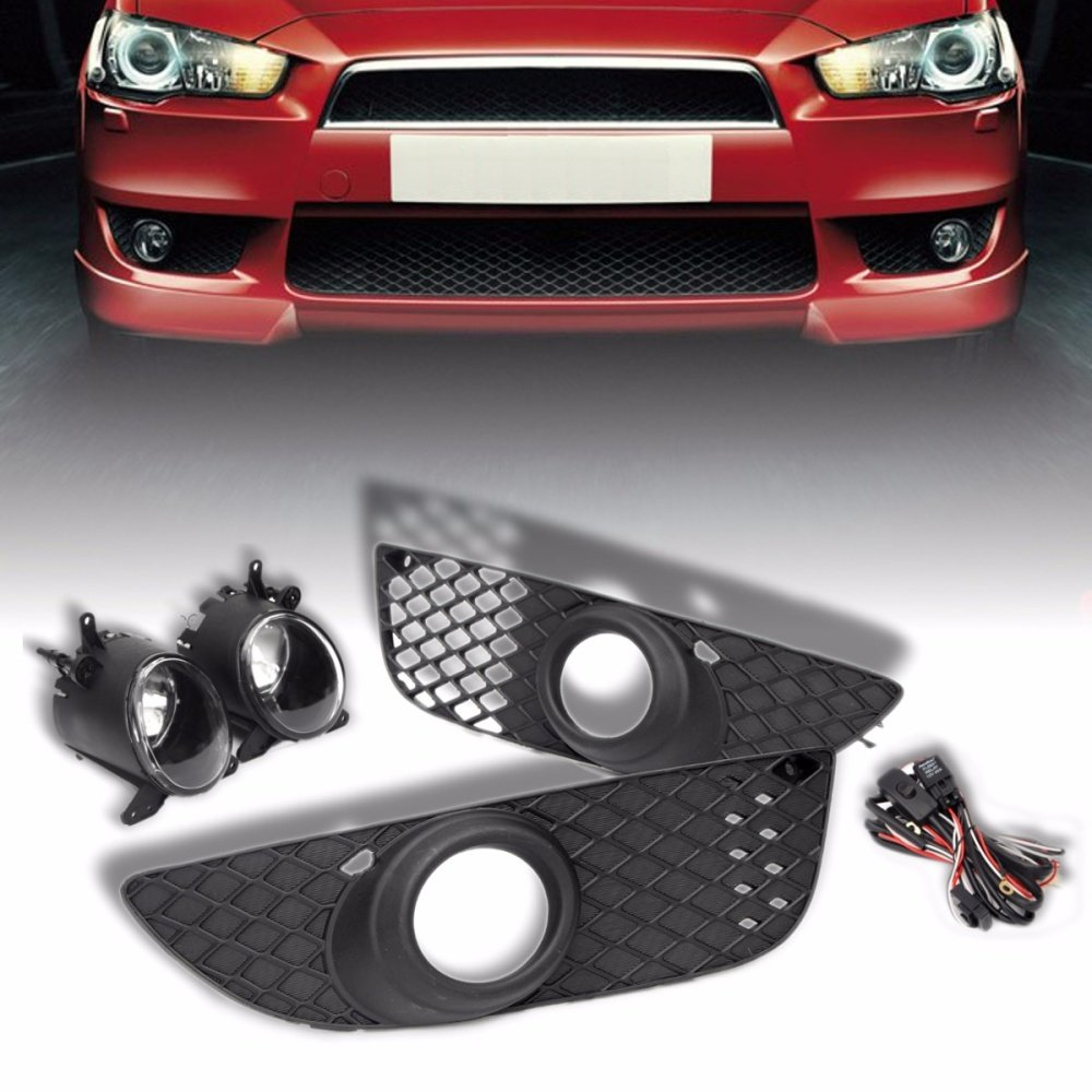 For 08 14 Mitsubishi Lancer Clear Bumper Grille Fog Light Driving How To Hook Up Lights Front Cover Trim Wire Switch Kit Condition 100 Brand New High Quality The