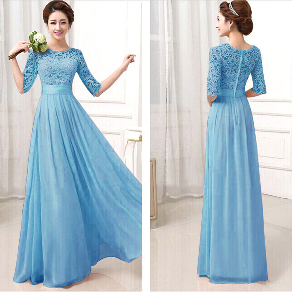 YBC Women Elegant Long Dress Long Sleeve Formal Evening Party Gown ...