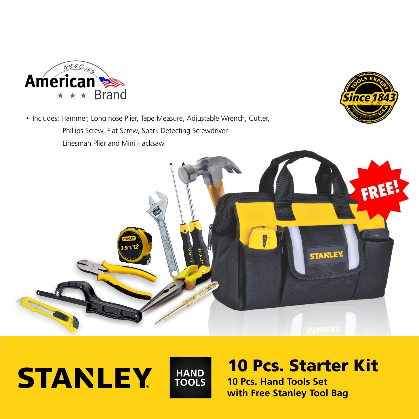 Stanley 10-Piece Starter Hand Tool Kit (Black/Yellow): Brand New Tools – applicable for doing repair work for difference appliances, it comes with Stanley tool bag with different pockets. Philippines