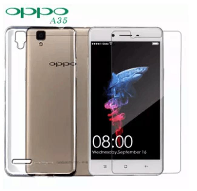 Tempered Glass 2 Pcs with FREE Jelly Case For Oppo A35