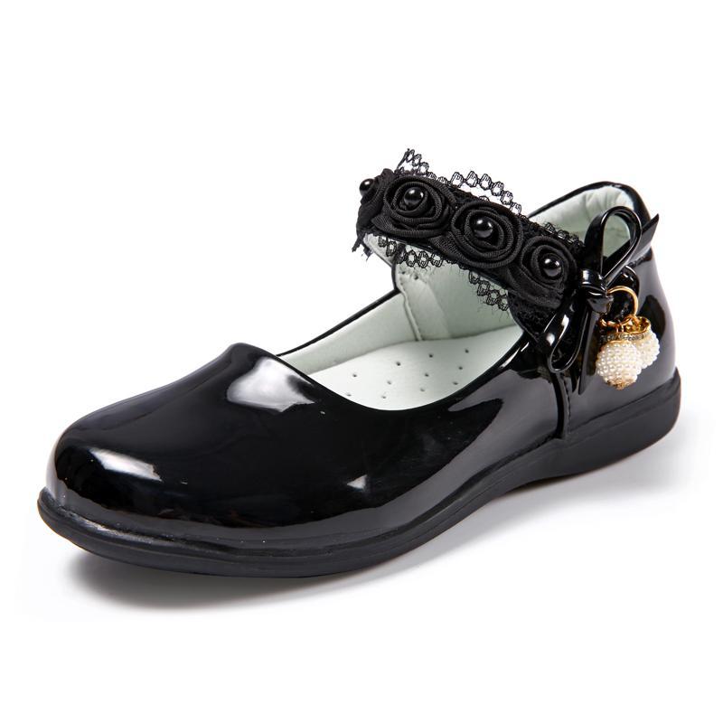 Sepatu anak anak prempuan Sepatu Kulit hitam sepatu putri musim gugur 2017 model baru anak-anak putih sepatu lapisan tunggal siswa sekolah dasar pertunjukan musim gugur Sepatu