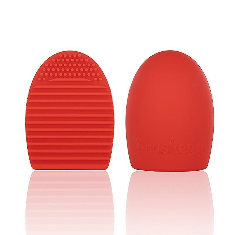 Brushegg Makeup Powder Brush Cleaner Silicone Beauty Tool Egg Wash (Red) Philippines