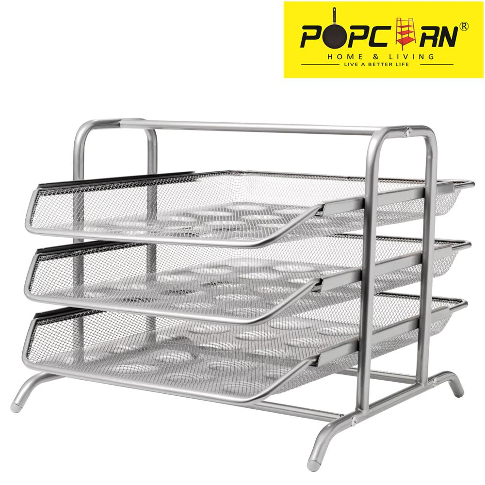 Doent 3 Tier Desk Easy To Assemble Letter Tray Silver