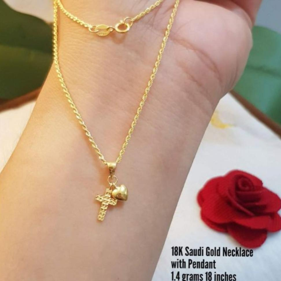 18karat Saudi Gold Cross Necklace Able