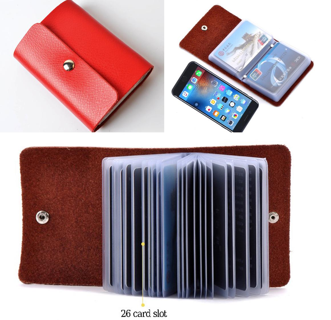 Unisex card holders for sale unisex travel card holders online leather card holder 26 slots id credit card case organizer leather card holder case wallet business reheart Gallery