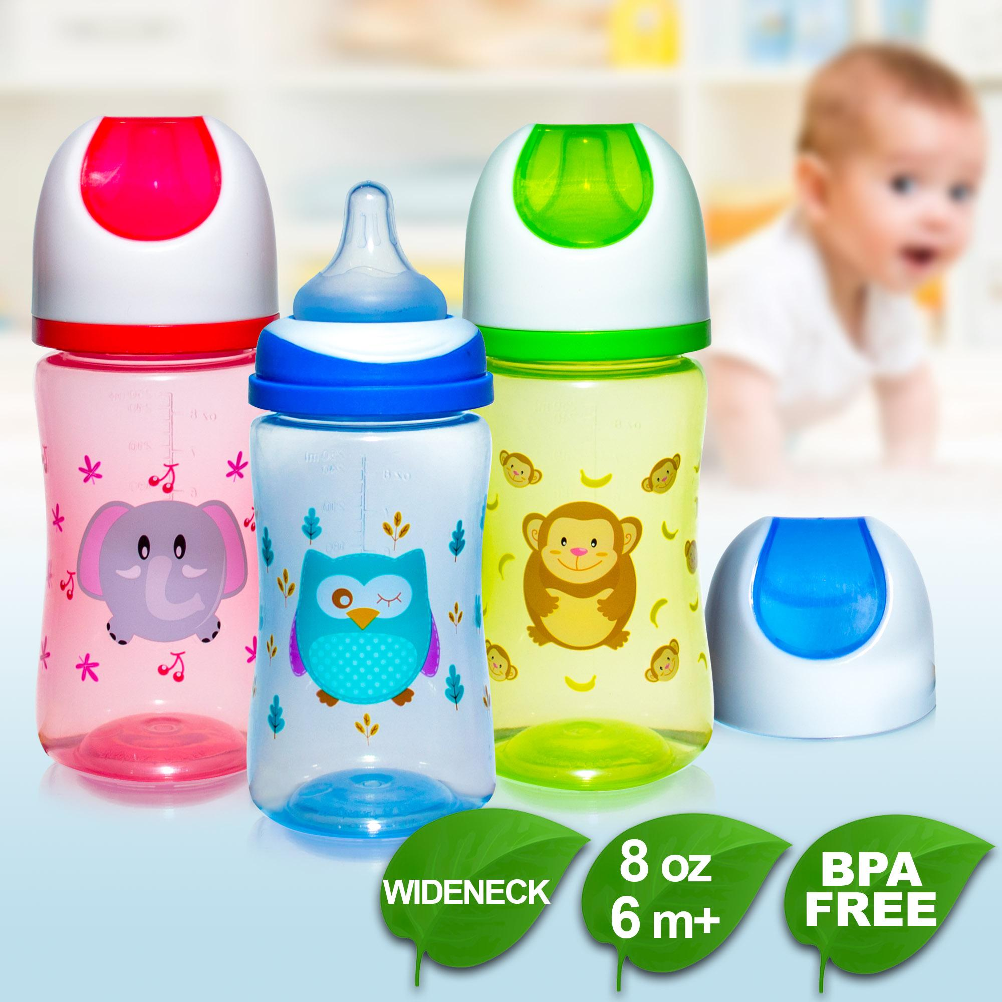 Bpa Free Coral Babies 8oz Tinted Wide Neck Character Feeding Bottle Pack Of 3 By Coral Babies.