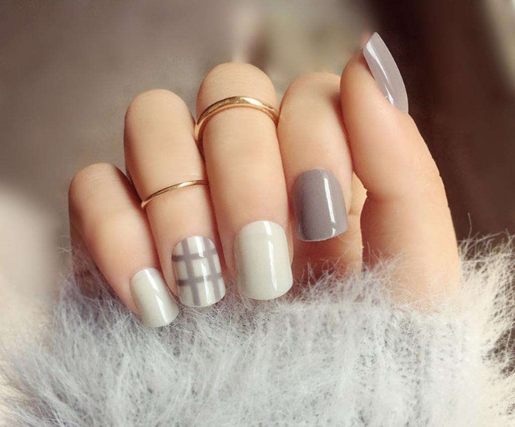 Grey Checkered Fake Faux Nails Philippines