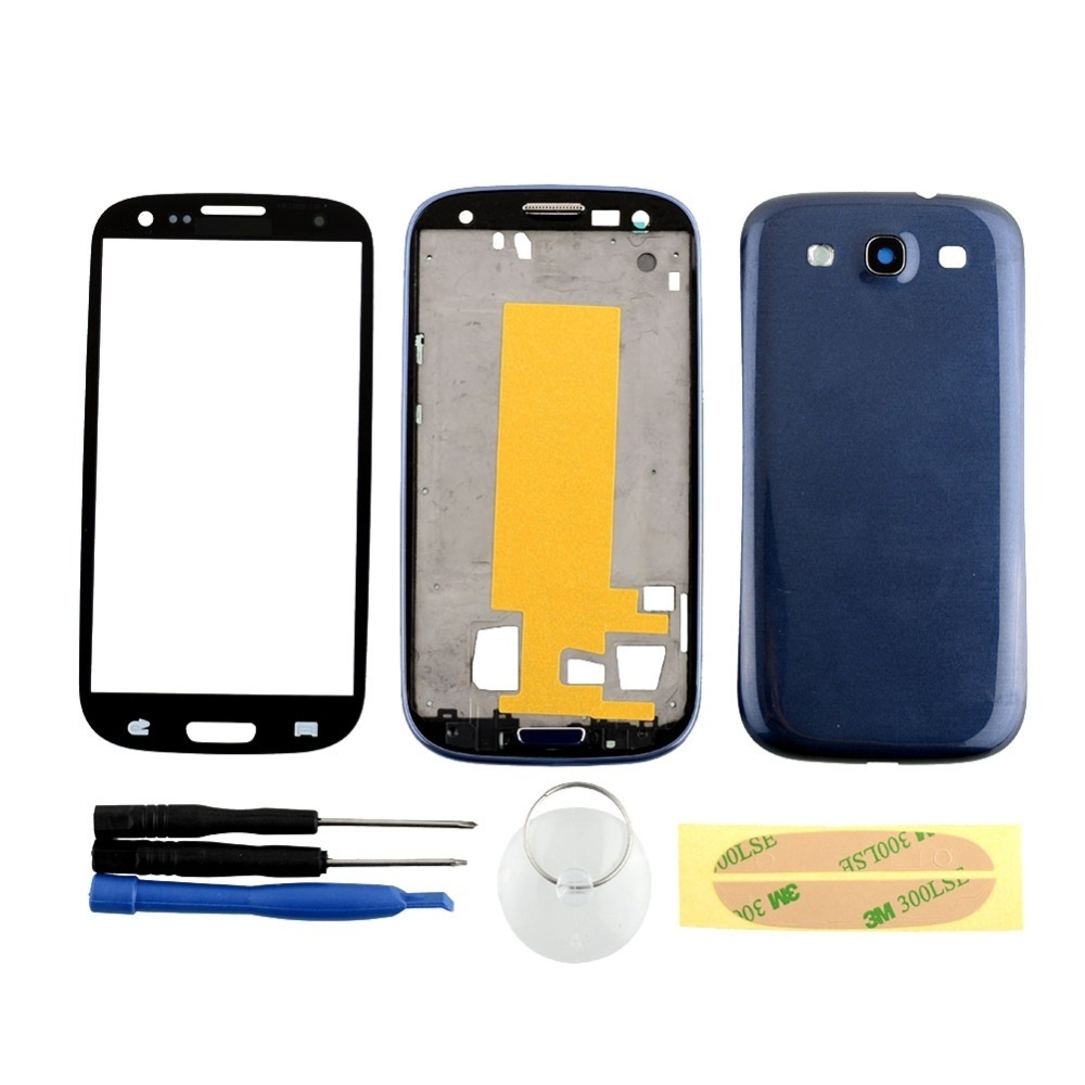 uk availability 4bc62 21465 High Tech Full Housing Case Screen Glass tools For Samsung Galaxy S3 i9300  Blue - intl