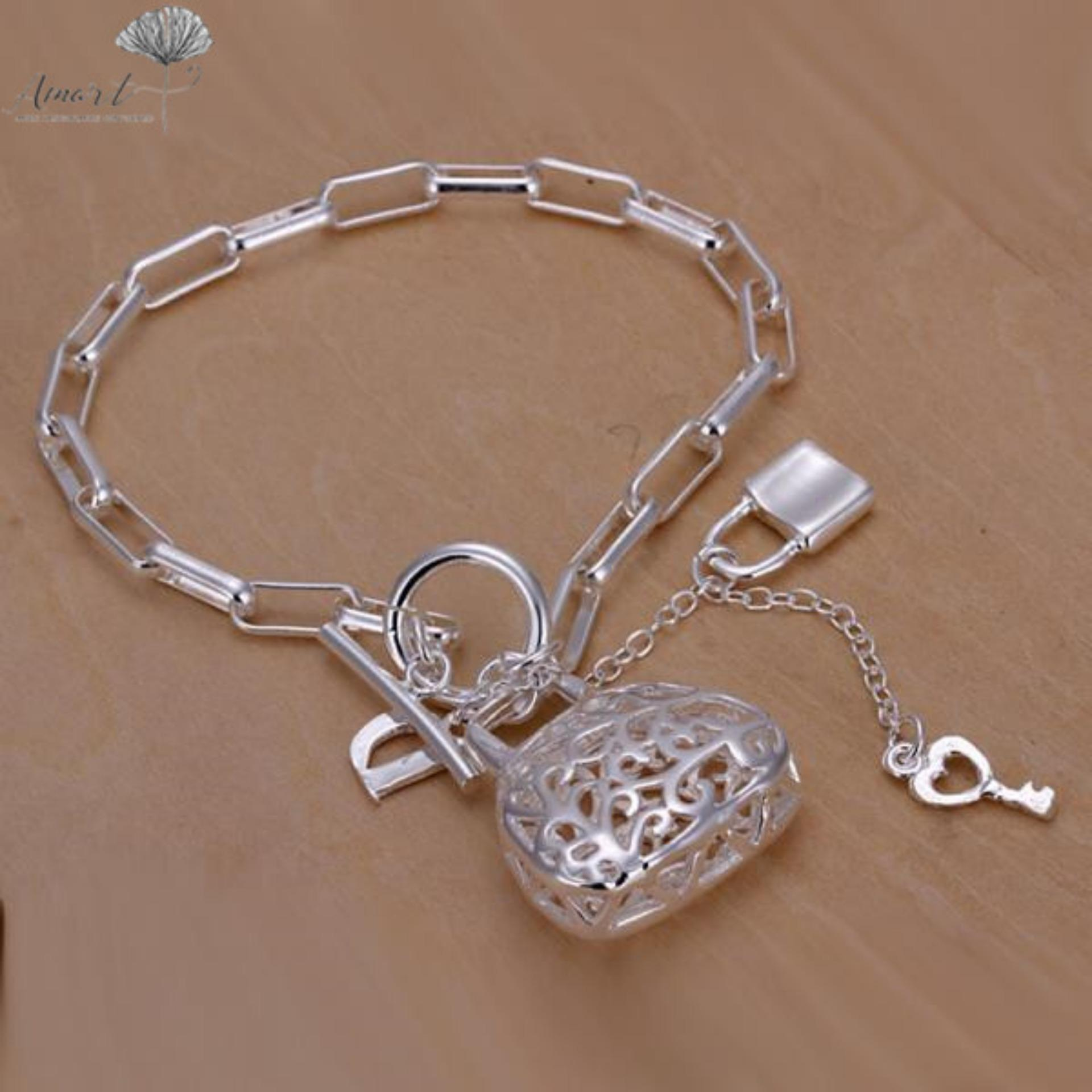 Amart Sterling Silver Cuff Chain Bracelet(Silver)