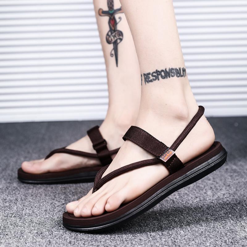 Pria sendal adem Musim Panas diluar ruangan Gaya Korea modis kepribadian  dua Anti Selip Sandal Jepit e0e790158d